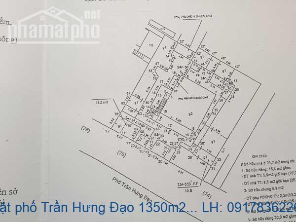Bán đất mặt phố Trần Hưng Đạo 1350m2 MT:20m giá 860tỷ