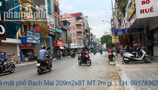 Bán nhà mặt phố Bạch Mai 209m2x8T MT:7m giá 88tỷ