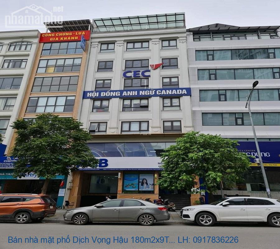Bán nhà mặt phố Dịch Vọng Hậu 180m2x9T MT:11m ĐN giá 78tỷ
