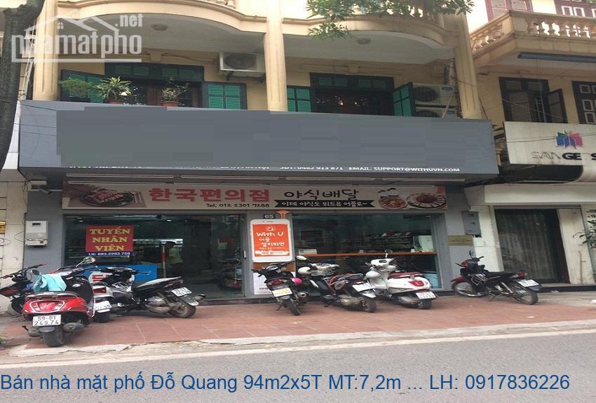 Bán nhà mặt phố Đỗ Quang 94m2x5T MT:7,2m giá 35tỷ