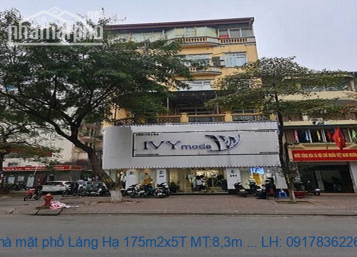Bán nhà mặt phố Láng Hạ 175m2x5T MT:8,3m TB giá 112tỷ