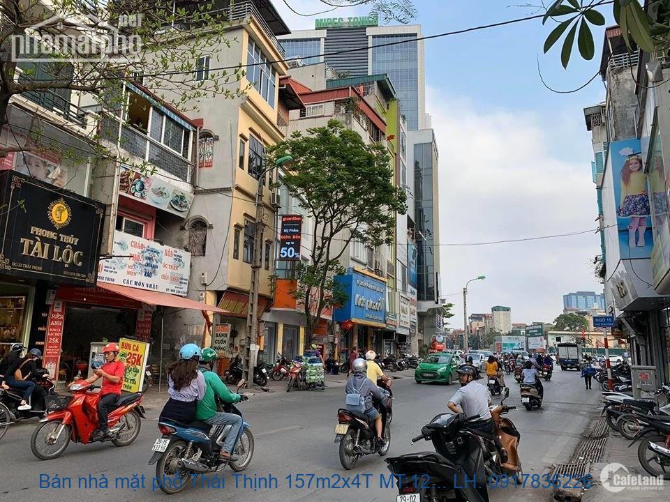 Bán nhà mặt phố Thái Thịnh 157m2x4T MT:12m lô góc giá 53tỷ