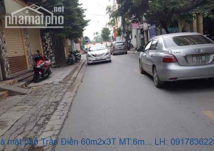 Bán nhà mặt phố Trần Điền 60m2x3T MT:6m giá 13tỷ