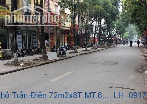 Bán nhà mặt phố Trần Điền 72m2x8T MT:6,5m giá 23tỷ