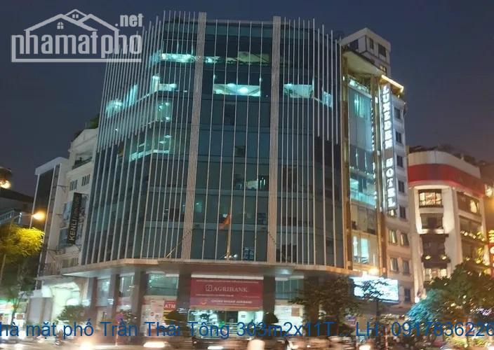 Bán nhà mặt phố Trần Thái Tông 303m2x11T MT:18m lô góc giá 180tỷ