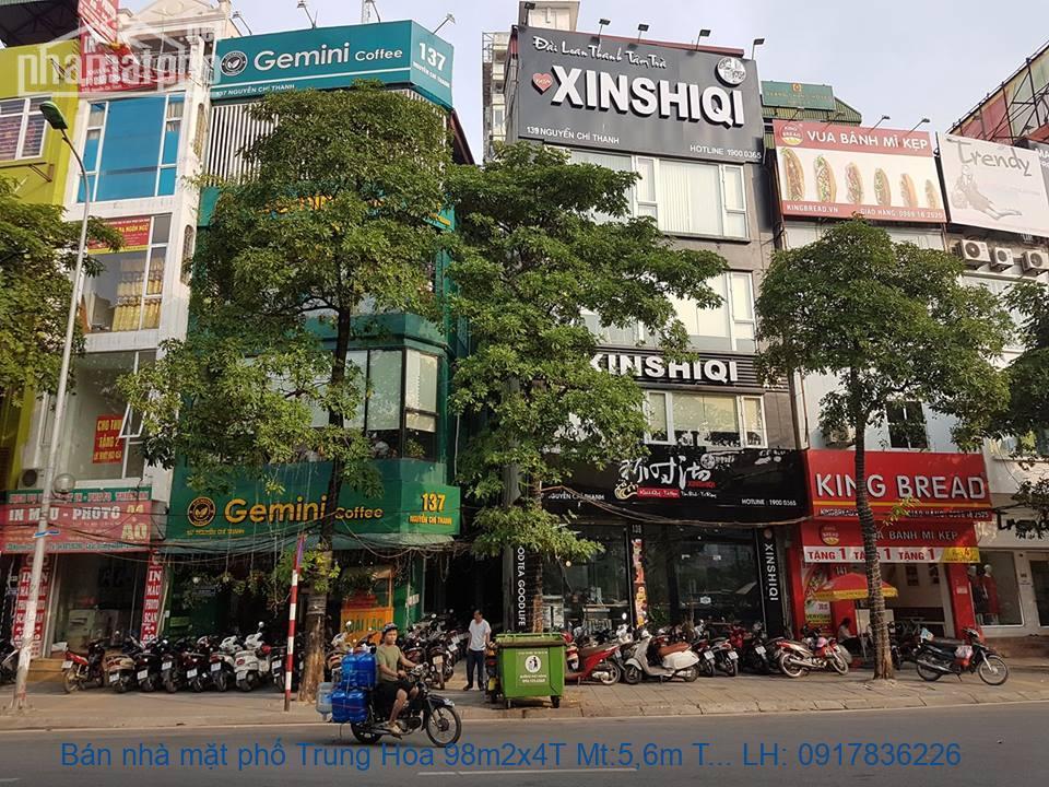 Bán nhà mặt phố Trung Hòa 98m2x4T Mt:5,6m TN giá 42tỷ